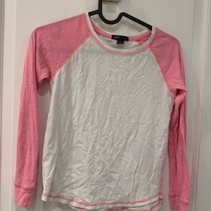 GAP kids pink and white long sleeve t shirt